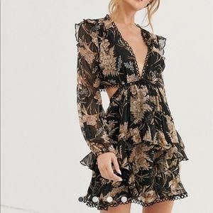 ASOS Design long sleeve mini dress floral print